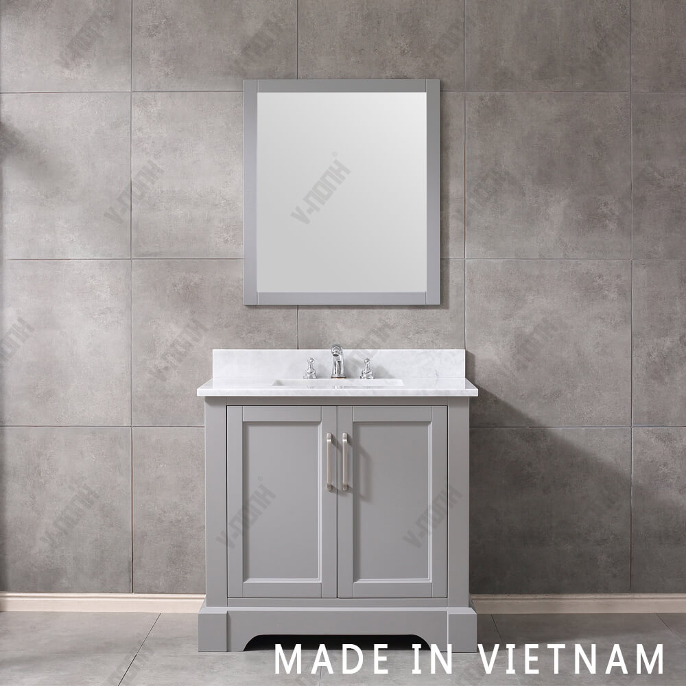 36inch Grey Cabinet Top Quality Single Sink Bathroom Vanity with Marble Top