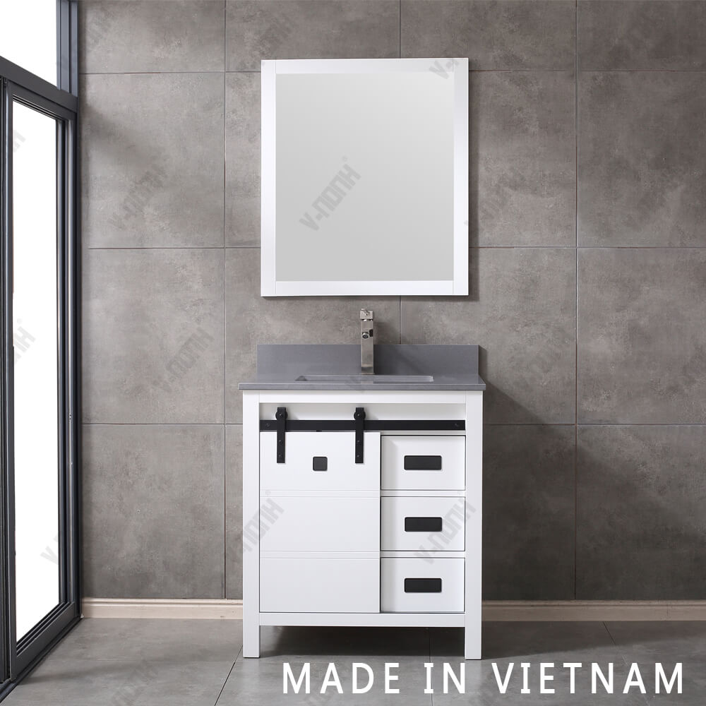 Vietnam 2020 New Design 30 Inch Bathroom Vanity Single Sink Bathroom Cabinet With Barn Door