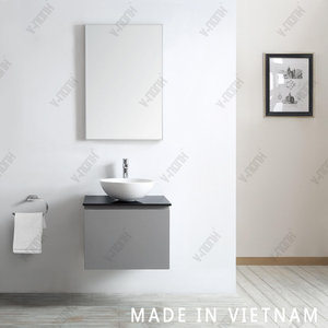 Wall Mounted 24 Inch Small Size Single Sink Solid Wood Cabinet Bathroom Vanity Modern Grey Bathroom Cabinet
